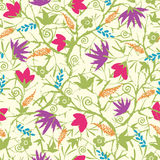 Painted blossoming branches seamless pattern Royalty Free Stock Images
