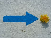Painted blue arrow and yellow dandelion, abstract. Signage, blue arrow and yellow dandelion, on the right Royalty Free Stock Images