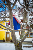 Painted blue bird house hanging on tree at snowy day Stock Photo