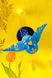 Painted Blue Bird and a Yellow Birdhouse Royalty Free Stock Photo