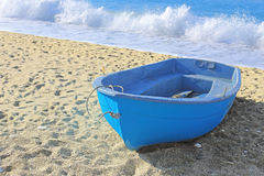 Painted blue boat Royalty Free Stock Photo