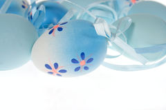 Painted blue Easter Eggs Royalty Free Stock Images