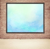 Painted blue watercolor picture with wooden frame Stock Photo
