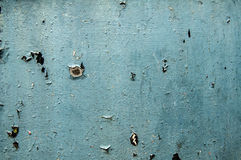 Painted blue weathered tin surface Stock Photo