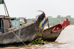 Painted Boats on Vietnam River Royalty Free Stock Photos