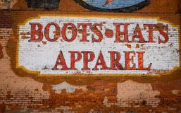 Painted boots,hats and apparel sign. In Nashville royalty free stock images