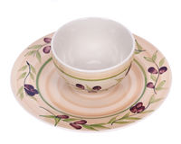 Painted bowl and plate Royalty Free Stock Photos