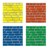 Painted brick. Brick wall. Background. Vector. Brick wall painted paints of different colors Stock Photos
