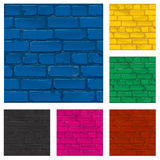 Painted brick wall texture, vector. The brick walls of different colors. Painted brick wall texture, vector Stock Photos