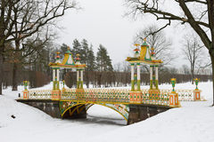 Painted the bridge with turrets. Through the Bypass channel in the Alexander Park in Pushkin, St. Petersburg Royalty Free Stock Images