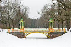 Painted the bridge with turrets. Through the Bypass channel in the Alexander Park in Pushkin, St. Petersburg Royalty Free Stock Photo