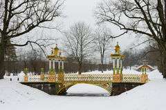 Painted the bridge with turrets. Through the Bypass channel in the Alexander Park in Pushkin, St. Petersburg Stock Images