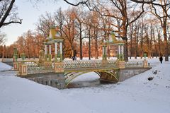 Painted the bridge with turrets through the Bypass channel in th. E Alexander Park in winter. Pushkin, Tsarskoye Selo, Saint Petersburg Royalty Free Stock Photos