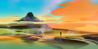 Painted bright fantastic landscape with traveler and mountain stock photos