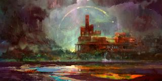 Painted in bright fantasy landscape with castle royalty free illustration