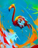 Painted bright flamingo bird on abstract background royalty free stock images