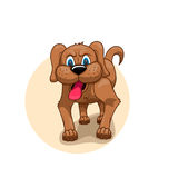 Painted brown dog. With his tongue hanging out and angry eyes Royalty Free Stock Photo
