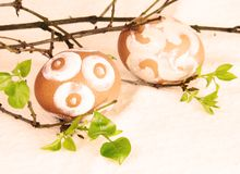 Painted Brown Easter Eggs Sepia. Two Painted Brown Easter Eggs Sepia Effect Royalty Free Stock Photo