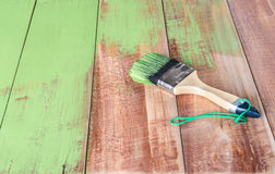 Painted  brush   wood board Stock Image