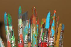 Paint Brush. Painted brushes used in painting workshop royalty free stock photo