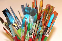 Paint Brush. Painted brushes used in painting workshop stock photos