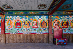 Painted Buddha images in the temple of Tibetan Buddhism Temple in Sikkim, India royalty free stock photography