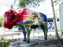 Painted Buffalo in Jackson Hole Wyoming Stock Images