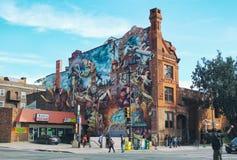 Painted building in Philadelphia Stock Photos