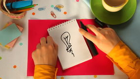 Painted Bulb, brainstorming idea or energy concept. Painted Bulb on beautiful background, Can be used as energy or idea, brainstorm concept etc stock footage