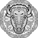 Painted bull on a background of circular pattern. Coloring page Royalty Free Stock Images