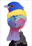 Painted Bunting. The colorful bird stands on the branch stock illustration