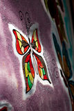 Painted butterfly. Painted butterflies on a window Royalty Free Stock Photography
