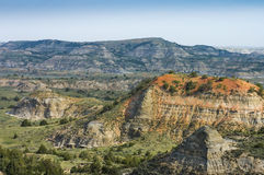 Painted Canyon. Scenic view of the Painted Canyon in Theodore Roosevelt National Park, North Dakota, USA stock photo