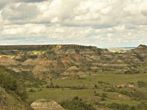 Painted Canyon, Theodore Roosevelt National Park. Medora, North Dakota is home to Theodore Roosevelt National Park also known as the badlands stock image