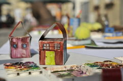 Painted cardboard houses royalty free stock photo