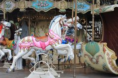 Painted carousel horses, Paris, France Stock Images