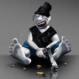 Painted cartoon hooligan with a gun character sketch. Illustration. Stock Photo