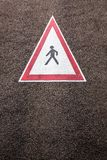 Painted caution road sign Royalty Free Stock Photography