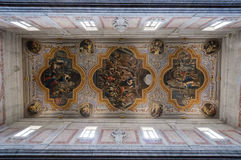 Painted ceiling. Interior of the Ostuni cathedral. Painted ceiling. Apulia, Italy Stock Photos