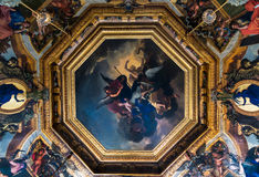 Painted ceiling of the castle of Vaux le Vicomte. Painted ceiling richly worked of the castle of Vaux le Vicomte in France Royalty Free Stock Photo
