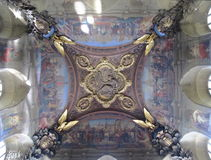 Painted Ceiling Mural in the Louvre Museum, Paris, France. A hand-painted ceiling mural in the Grand Gallery of the Louvre Museum and former palace of Paris is Royalty Free Stock Photos