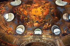 Painted ceiling in the Vienna Library. Inside the beautiful Austrian National Library in Vienna. Est in 18th century, the largest library in Austria with 7.4 Stock Images