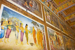 Painted Ceiling and Wall at Isurumuniya Temple. Image of a painted ceiling and wall at UNESCO's 3rd century World Heritage Site of Isurumuniya Temple, located at Royalty Free Stock Image