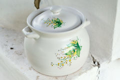 Painted ceramic pot royalty free stock image