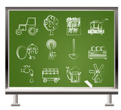 Painted with chalk farming industry icons Royalty Free Stock Photography