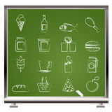 Painted with chalk shop, food and drink icons Stock Photography
