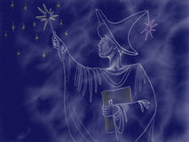 Painted charmer student on night sky background drawn by acrylic paint Royalty Free Stock Image