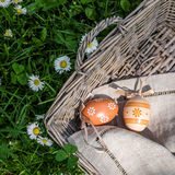 Painted chicken eggs in basket, top view Stock Photo