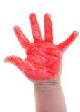 Painted child hand Stock Photo