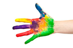 Painted child hand. Child hand painted in colorful paints ready for hand prints stock photos